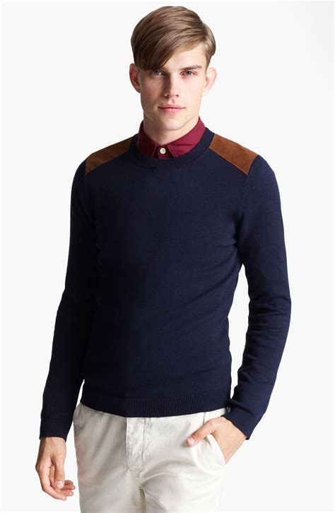 Anthony Navy Sweater Rajut Gk mens sweater with shoulder patch sweater vest