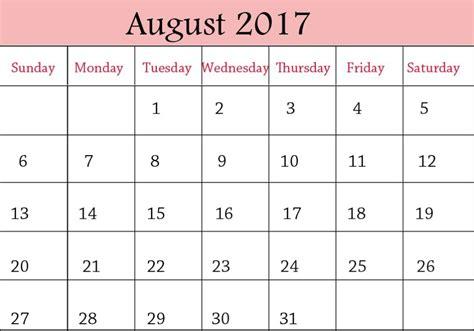 Calendar 2017 August And September Printable August 2017 Calendar Printable