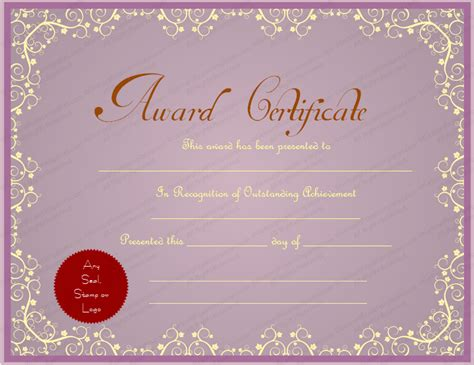 purple certificate template purple themed general award certificate template