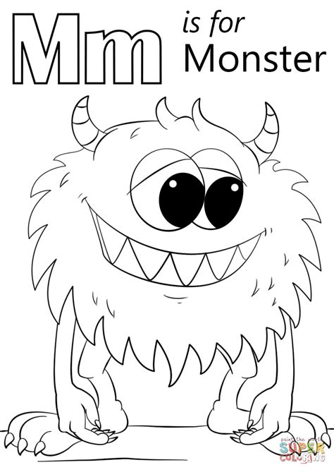 Letter M Coloring Page by Letter M Is For Coloring Page Free Printable