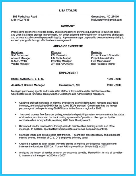 sle buyer resume branch manager description resume