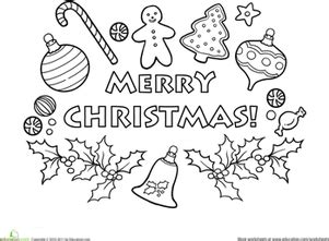 Merry Christmas Worksheet Education Com Merry Words Coloring Pages