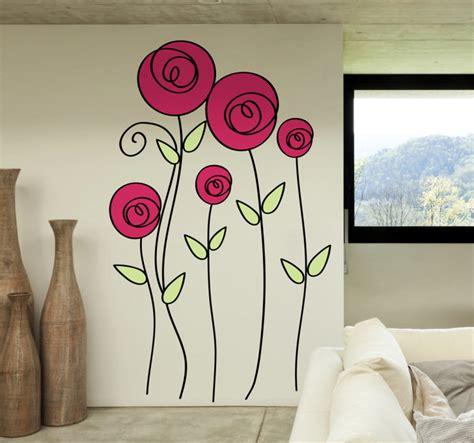 imagenes para dibujar en paredes vinilo decorativo dibujo rosas tenvinilo