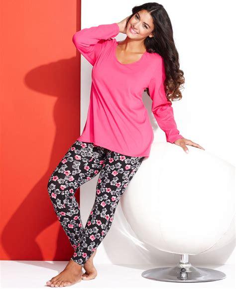 Sale Legging Set Pink lyst hue plus size legging pajama set in pink