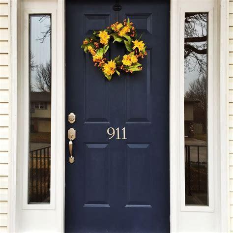 Navy blue front door yellow wreath   Rosebriar   Pinterest