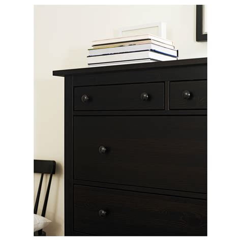 hemnes chest of 6 drawers black brown 108x131 cm