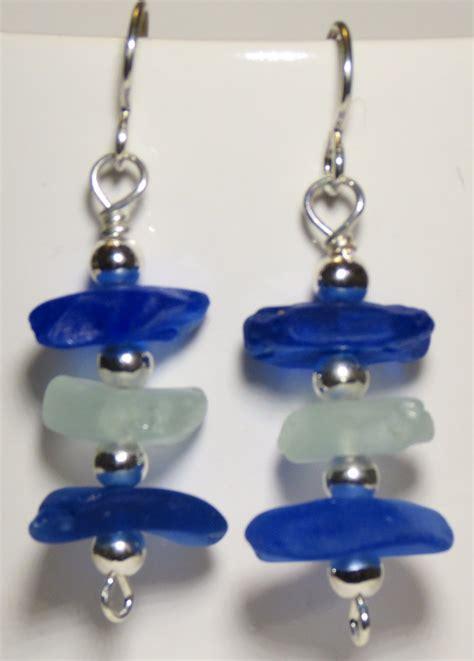 Handmade Sea Glass Jewelry - sea glass earrings blue stbeachfinds handmade earrings