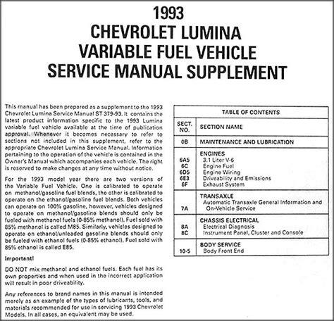 service manuals schematics 1993 chevrolet lumina apv regenerative braking 1993 chevy lumina car variable fuel ethanol repair shop manual supplement