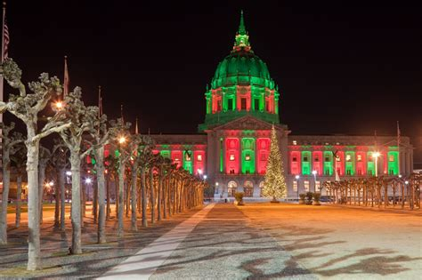 san francisco city hall illuminated in christmas pin xmas