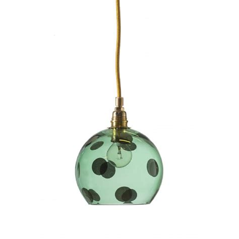 Green Pendant Lights Transparent Green Glass Ceiling Pendant Light With Large Polka Dots
