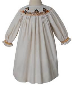 smocked thanksgiving thanksgiving girls smocked bishop dress with pilgrims turkey
