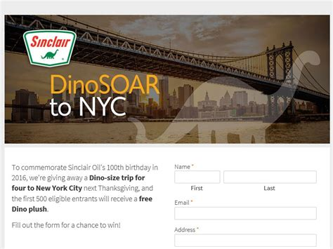 Nyc Sweepstakes - sinclair oil dinosoar to nyc sweepstakes