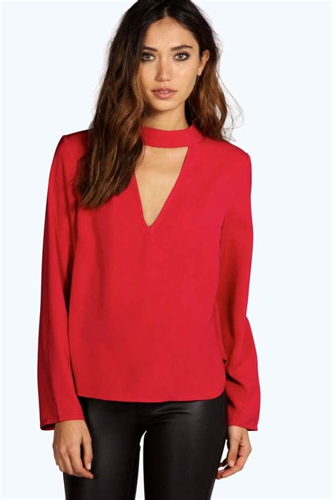 Hs Chocker Black Top 1 una open choker neck detail sleeve blouse at boohoo