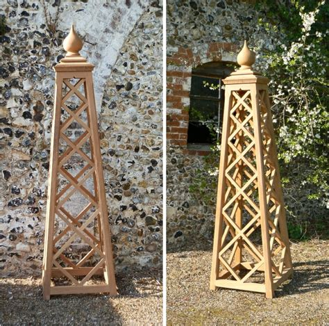 Small Plant Supports oak iroko teak garden obelisk vines and plants supports