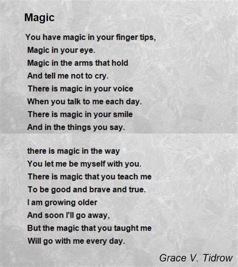 magic poem by grace v tidrow poem