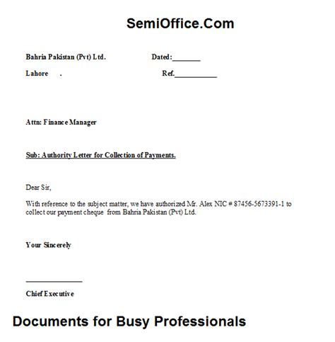 Authorization Letter Format For Document Collection authority letter for payment collection free download