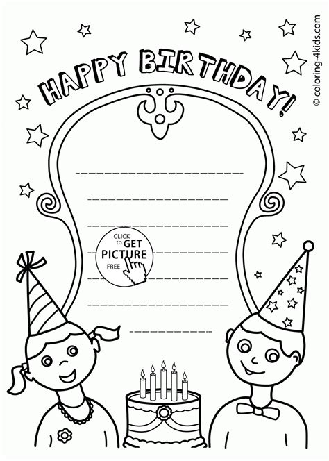 printable birthday cards that you can color nice happy birthday card coloring page for kids holiday