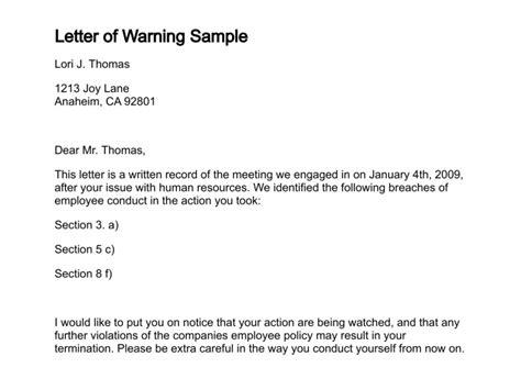 verbal warning letter
