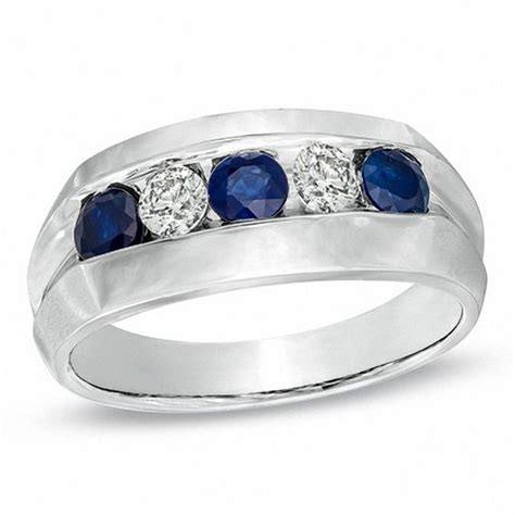 Blue Sapphire 12 3 Ct s blue sapphire and 1 3 ct t w ring in 10k