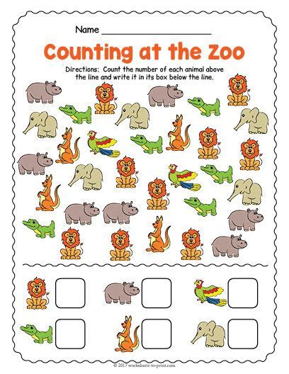 free printable at the zoo counting worksheet counting