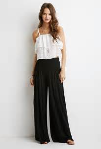 forever 21 box pleat palazzo pants in black lyst
