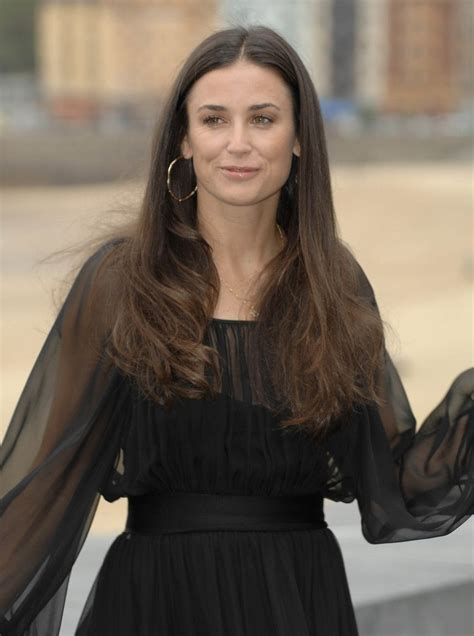 demi moore long center parted hairstyle   square