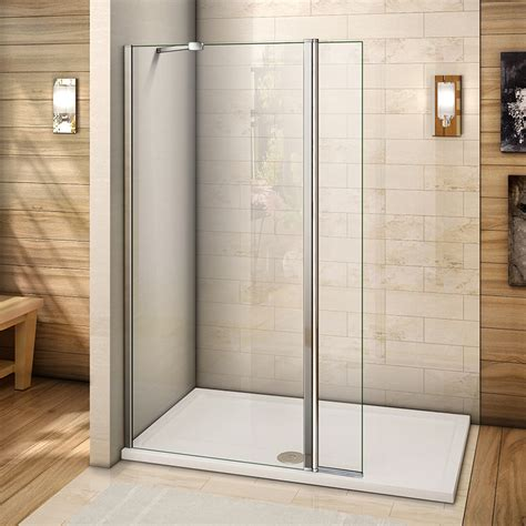 room shower former walk in room shower enclosure and tray flipper screen panel 8mm nano glass ebay