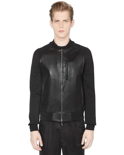 leather jacket with knit sleeves emporio armani nappa leather jacket with knit sleeves in