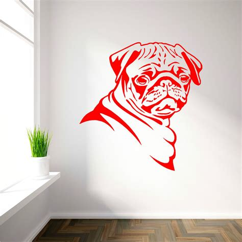 pug decal pug vinyl wall room sticker decal canine pugs animal themed ebay