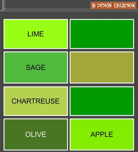 green color names yellow green colour names colour yellow green