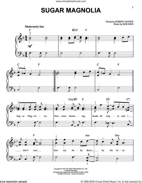 grateful dead sugar magnolia how to play the main riff dead sugar magnolia sheet music for piano solo
