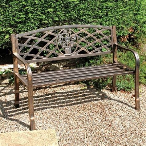 garden table with bench seats bronze garden bench