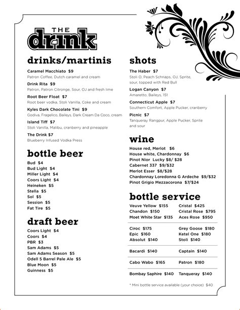 Free Drink Menu Template Portablegasgrillweber Com Cocktail Menu Template Free