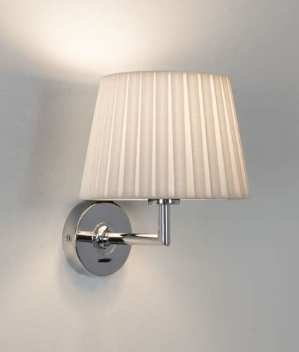 Frida Bedside L Pleated Shade by Contemporary Bedside Light In Chrome Switched