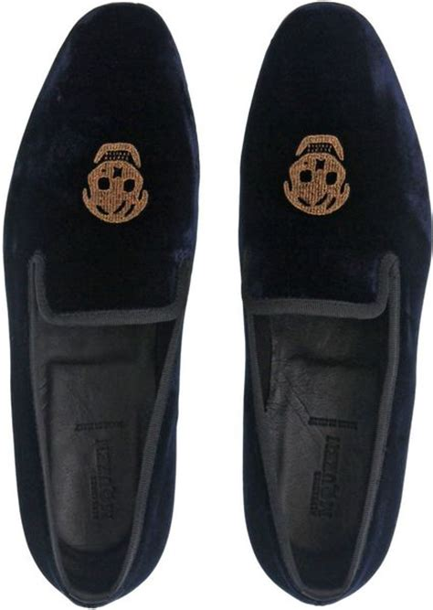 mens skull loafers mcqueen skull velvet loafers in blue for
