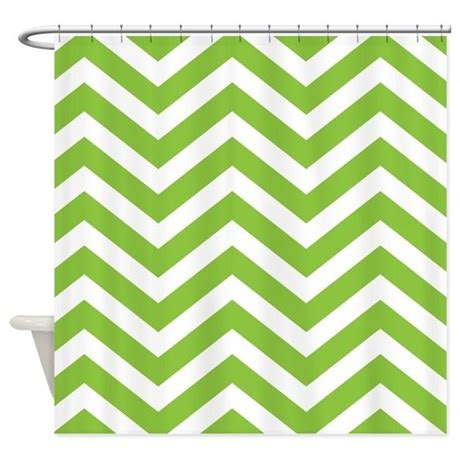 Green Chevron Stripes Shower Curtain By Chevroncitystripes