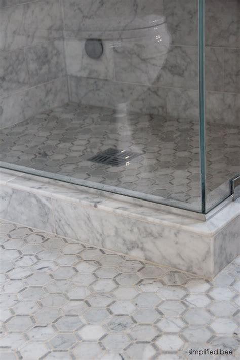 marble hex tile bathroom floor design reveal marble bathroom simplified bee