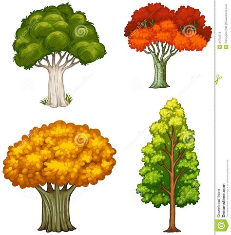 different color trees four trees with different colors royalty free stock images