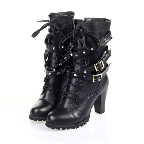 stylish womens motorcycle boots first layer leather women motorcycle boots spike chain
