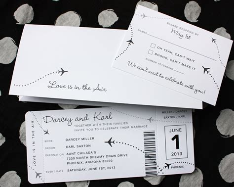 plane ticket wedding invitation template black white clean simple airplane ticket wedding