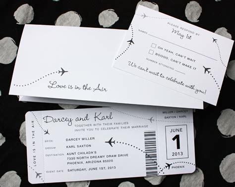 Black & White Clean & Simple Airplane Ticket Wedding