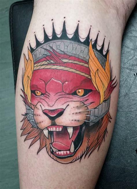 new school crown tattoo new school style colored leg tattoo of evil fantasy lion