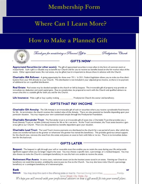 planned giving folder insert where to learn more