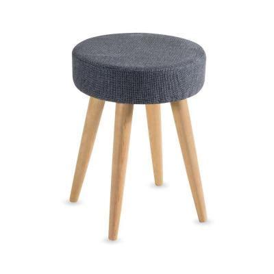 sgabello per piedi sgabello tessuto grigio e piedi in legno d 37 5 x a 50cm