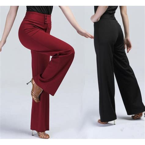 swing dance pants black red long length high waist women s ladies female