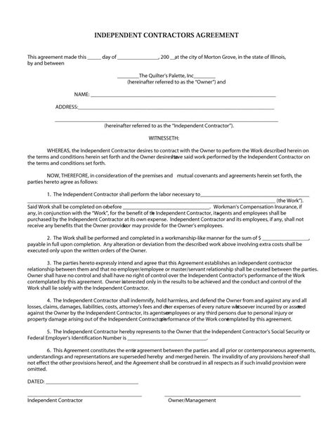 50 Free Independent Contractor Agreement Forms Templates Independent Contractor Form Template