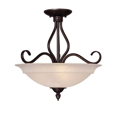3 Light Semi Flush Mount Ceiling Fixture Illumine 3 Light Ceiling Fixture Bronze Semi Flush Mount Cli Sh202851567 The Home Depot
