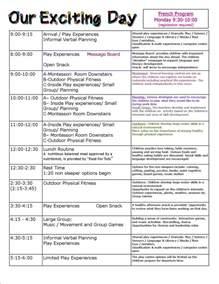 preschool schedule template preschool children s centre mississauga