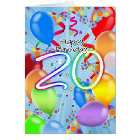 20th Birthday Cards 20th Birthday Greeting Cards Zazzle Com Au