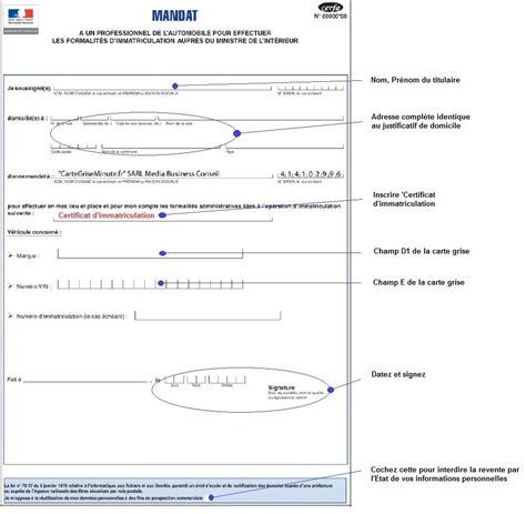 comment remplir l adresse d comment remplir mandat d immatriculation la r 233 ponse est sur admicile fr